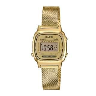 Casio Ladies' Vintage Standard Digital Gold Tone Mesh Band Watch