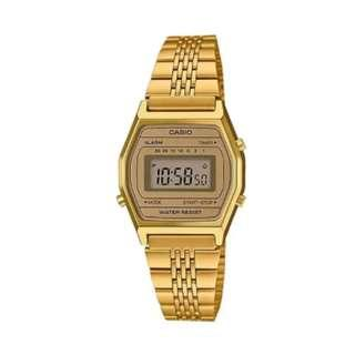 Casio Vintage Standard Digital Gold Tone Stainless Steel Band Watch