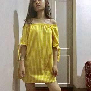 Yellow Stripes Off-Shoulder Dress