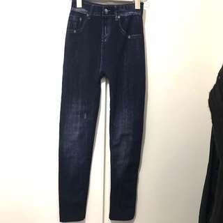 Women denim print jeans skinny pants fit xs