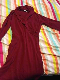 Red sweater wrap dress
