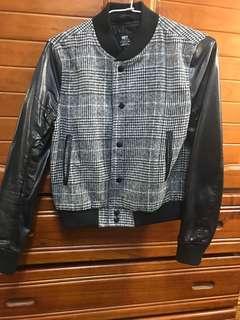 🚚 NET千鳥格紋皮衣黑色接袖子外套