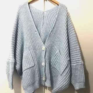 淺藍色針織外套 baby blue cardigan jacket fit s-m