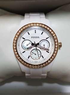 Authentic Fossil Stella watch for ladies in White strap
