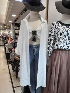 Korean White Button Shirt / Outerwear