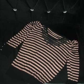Lace stripes office top