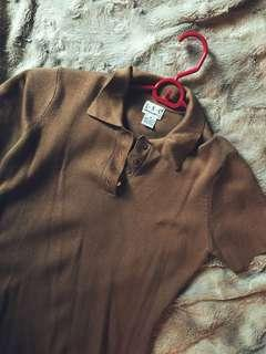 Vintage Camel Knit Polo Top