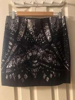 Express Sequin Black Skirt