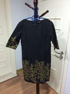 Maje Black Gold Dress