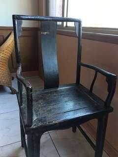 百年 清 大黑漆 太師椅  明式家具 極美皮殼  古董
