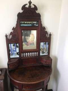 日據 檜木 雕花 玻璃內畫 梳妝台  鏡台 古董