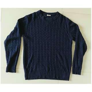 GU Dark Blue Sweater 深藍色長袖冷衫,Size L,約八成新 80% New