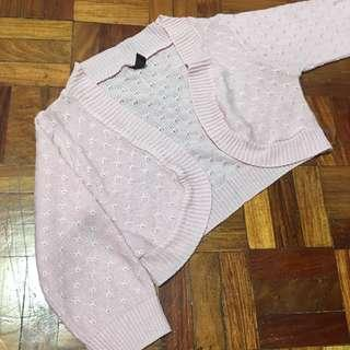 Light Pink Knitted Cropped Cardigan