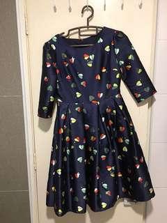 Brilliant blue full skirt dress