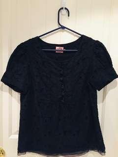 Juicy Couture Black Lace Short Sleeved Top