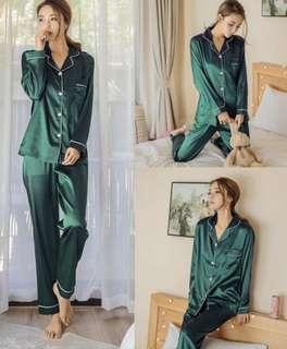 Emerald silk pjs set