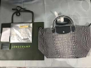 Bnew and Original Longchamp Neo Grey Croc