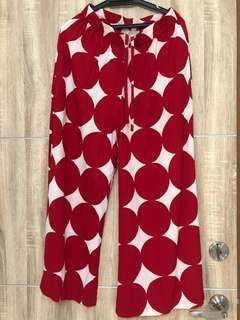 Palazzo red&white dotty