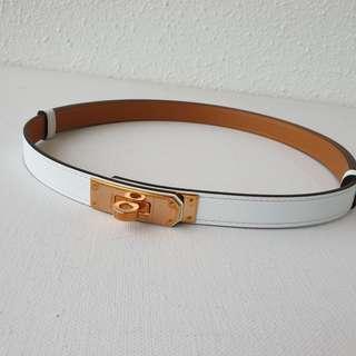 Brand New Hermes Kelly Belt white in Epsom rghw