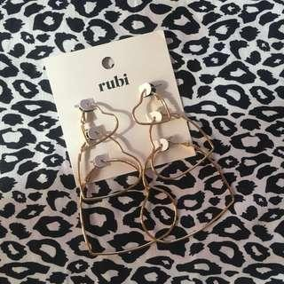 Rubi Heart Hoop Earrings Set