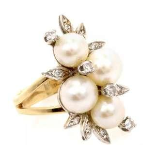 Beautiful Estate Diamond Pearl 14K Two Tone Gold Floral Ring