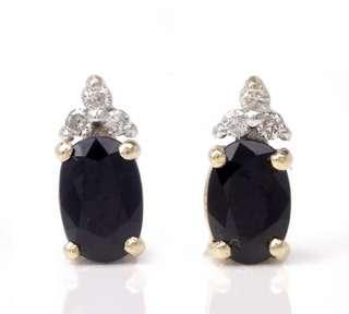 Beautiful Estate Diamond Sapphire 14K Yellow Gold Stud Earrings