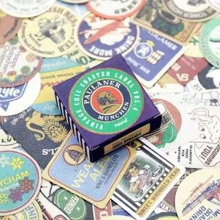 🚚 70枚盒裝黑白旅行遊記老式英倫標籤貼紙(紫)