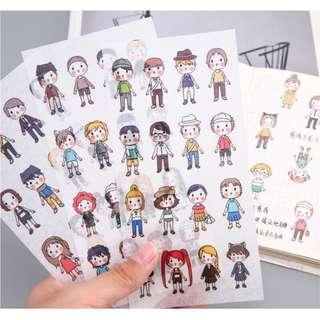 🚚 韓國創意手帳貼紙 小人物  學生手帳本工具套裝 裝飾貼紙6張入