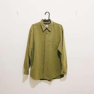 🚚 古著 | 美國戶外運動品牌 Columbia 男裝 長袖襯衫 抹茶綠 綠色 女生 Oversized 大襯衫