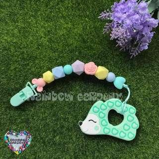Handmade customised silicone pastel beads Pacifier Clip + Mint Hedgehog Teether Combo