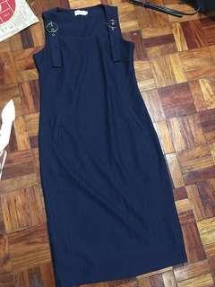 ELLE Navy Blue Gold Buckle Dress