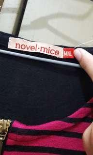 Kaos lengan panjang stripes Novel Mice