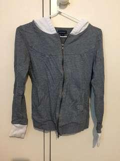 Witchery grey/white zip hoodie jacket size XS
