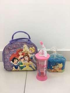 #SparkJoyChallenge Original Disney Coin Box +Disney Princess Bag + Disney Winnie the Pooh Piglet Straw Cup