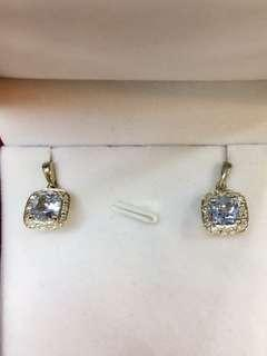 Diamond & Simulated Aquamarine Earrings  in 925 Silver. D0.12ct