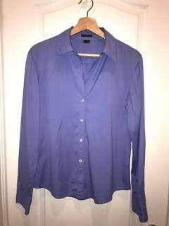 Theory periwinkle long sleeve button up blouse - size L