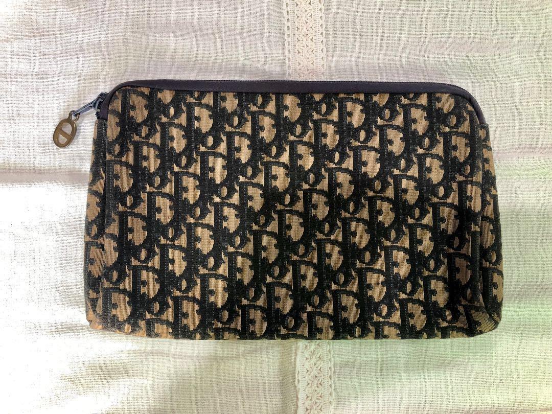 edbd05586b4a 100% Authentic Vintage Christian Dior Trotter Jacquard Oblique Canvas Clutch    Hand Bag NEGOTIABLE