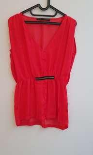 Zara red top