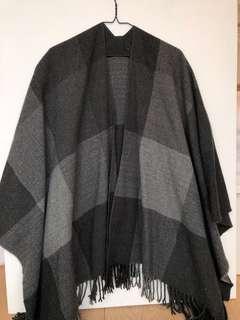 Grey plaid blanket shawl/wrap/scarf/coverup