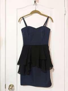 H&M Navy Blue and Black Ruffle Strap Dress (Size 2)
