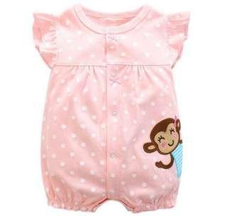 🚚 📮Free postage cute monkey pink romper