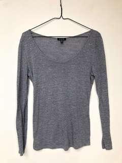 Blue grey long sleeve shirt. Size medium, but fits small