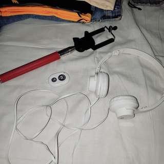 Bundle: Monopod+Bluetooth Shutter+Headphones (foldable)