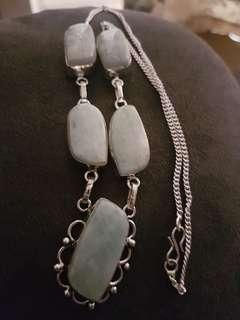 Cute stone silver necklace jewelry