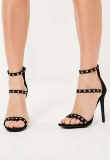 MISSGUIDED Statement Three Studded Star Stiletto Heels Sz 38