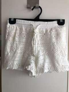 Be white lace shorts