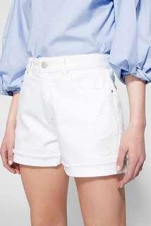 WITCHERY Rip + Repair White Denim Shorts Sz 16 - NWT