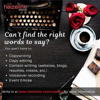 Writing & Editorial, Design, Emcee, Voiceover, Proofreading, Transcribing, Social Media, Content, Website Services