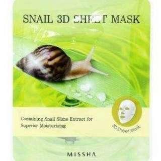 🚚 現貨 韓國 Missha 全效深層再生修護蝸牛面膜 3D Sheet Mask