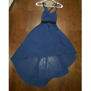 Blue high low backless dress